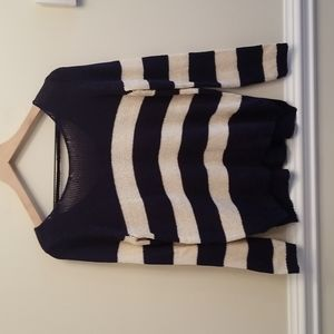 Olive & Oak Navy and Cream Sweater, Size Medium